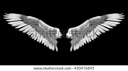 white wings - 3D isolated illustration over black background - stock photo