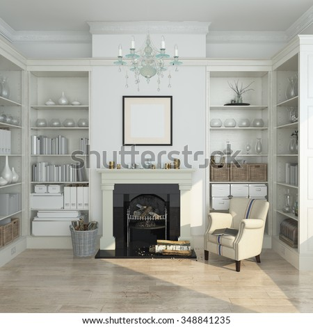 White winter  modern interior with armchair, fireplace. 3d render - stock photo