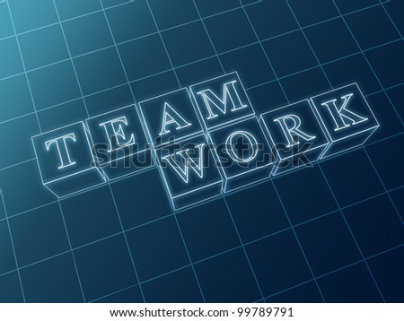 white wire boxes with text teamwork over blue - stock photo