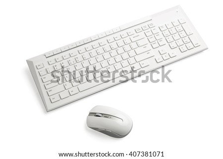 White wireless computer mouse and keyboard on white background. - stock photo