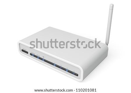 White wireless router on white background - stock photo