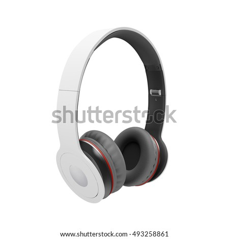 White with gray wireless headphones isolated on white background 3D illustration render.