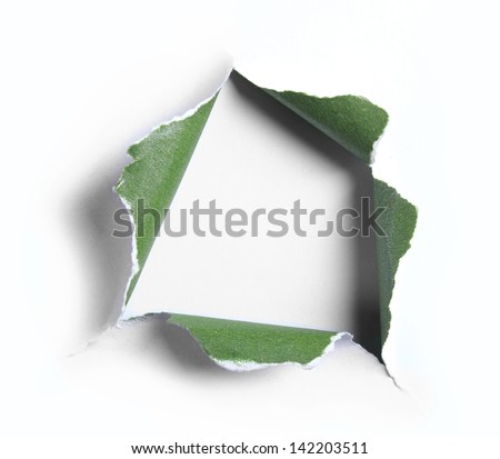white with green torn paper with square shape over light blue background - stock photo
