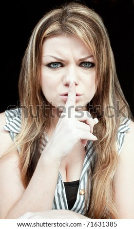 White Woman Doing Shh Sign