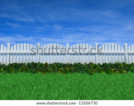 White wood fence with ground cover growing alongside on a grass field under a clear blue sky.