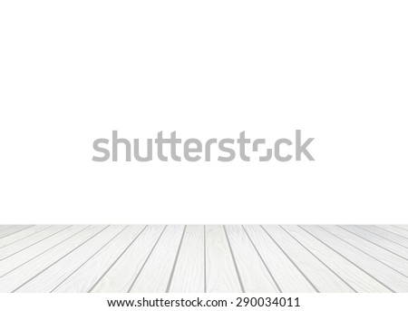 white wood floor on a white background - stock photo