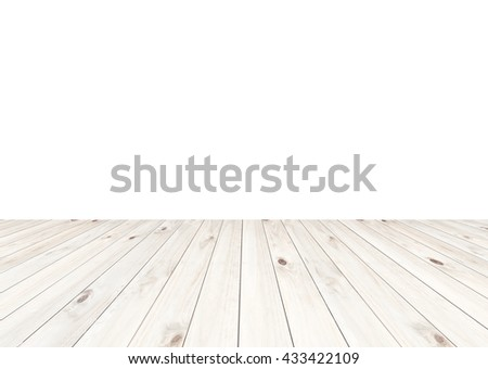 White wood floor texture isolated on white background - stock photo