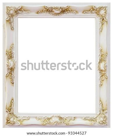 White wood frame on white background - stock photo
