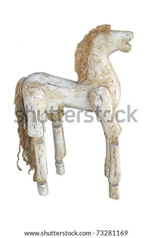White wood horse doll - stock photo