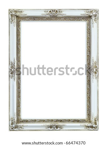 white wood photo image frame isolated on white background - stock photo