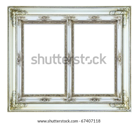 white wood picture image frame isolated on white background - stock photo