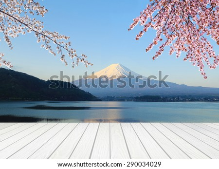 white wood terrace with Mt Fuji and Cherry Blossom - stock photo