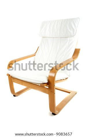 White wooden armchair - stock photo