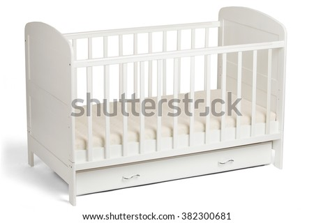 white wooden baby crib isolated on white background - White Baby Crib