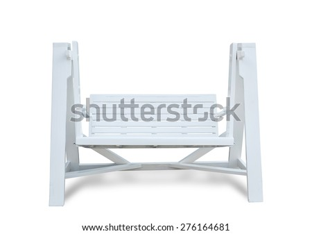 White wooden benches on white background. This has clipping path. - stock photo