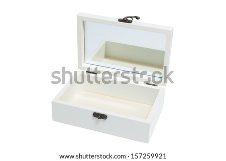 White wooden box using path
