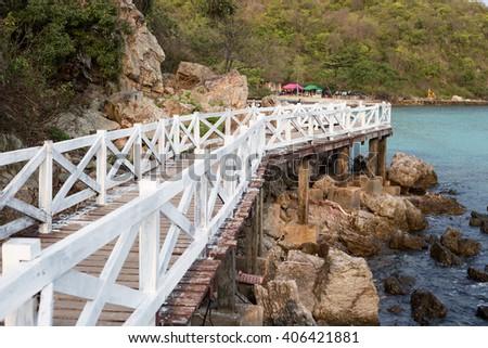 White wooden Bridge in koh lan ,Thailand - stock photo