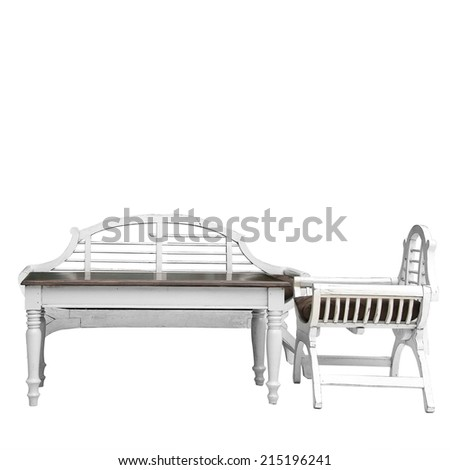 White wooden chair and wooden table isolated on white background - stock photo