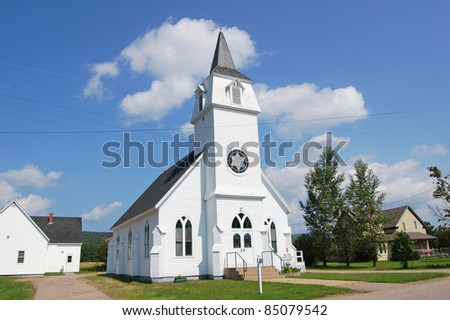 white wooden church in canada - stock photo