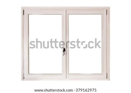 white wooden double door window isolated on white background - stock photo