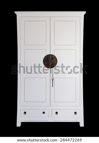 white wooden dresser classic over black background - stock photo