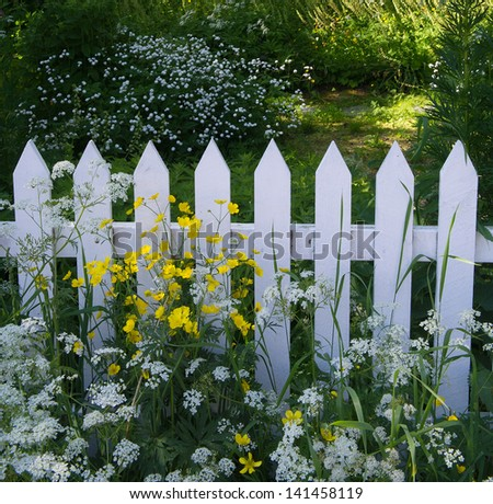 White wooden fence - stock photo