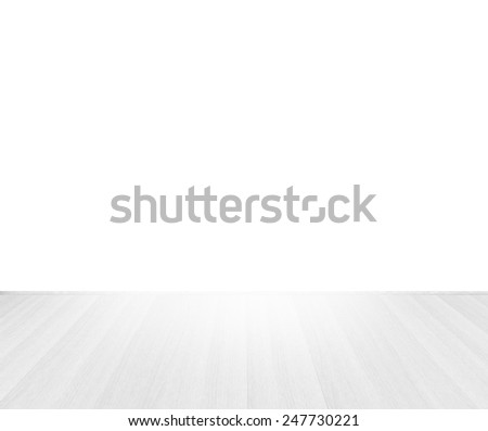 white wooden floor top perspective on white background - stock photo
