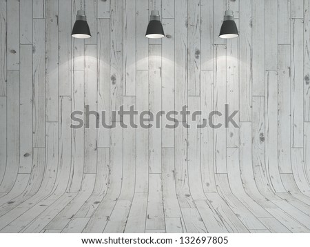 white wooden laminate and lamp as a background - stock photo