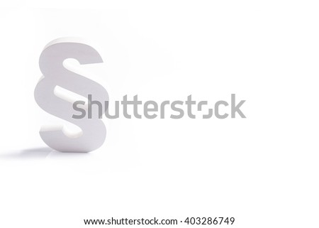 White wooden paragraph the symbol of law - isolated on white background. Law concept - stock photo
