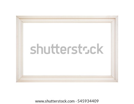 white wooden picture frame isolated on white background