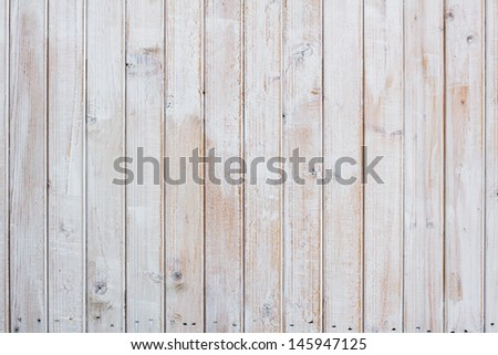 White wooden planks wall background - stock photo