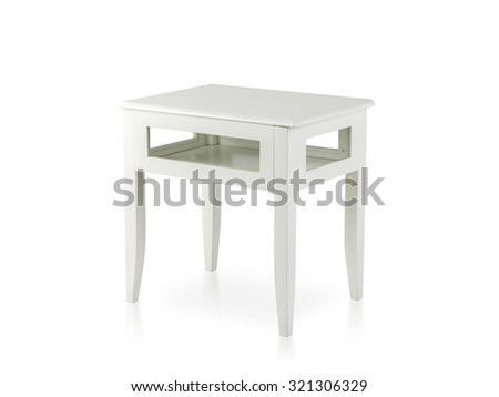 white wooden table isolated on white - stock photo