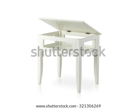 white wooden table with opened top isolated on white - stock photo