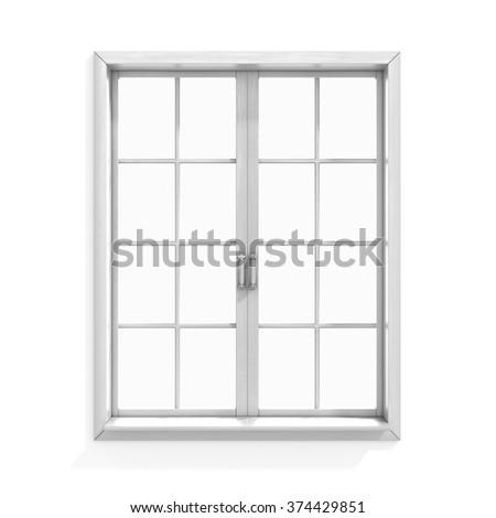 White wooden window - stock photo