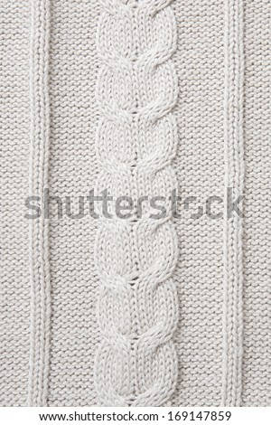 White wool knitted fabric texture - stock photo