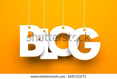 White word BLOG suspended by ropes on orange background - stock photo