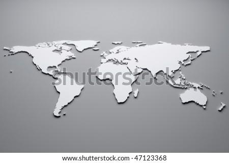 White world map. 3d - stock photo