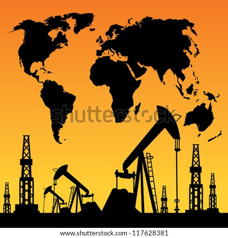 White World Map, Oil rig and oil pump. - stock photo