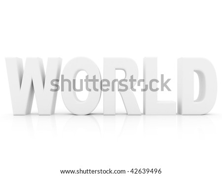 white world word isolated over a white background