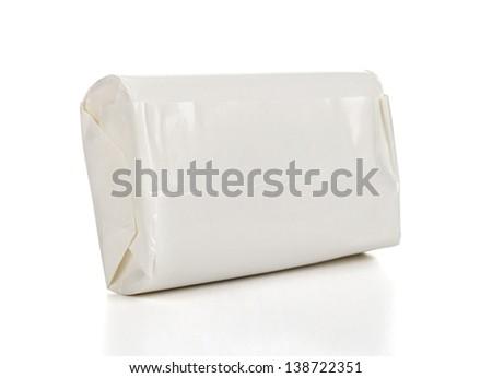 White wrap box package, on white background - stock photo