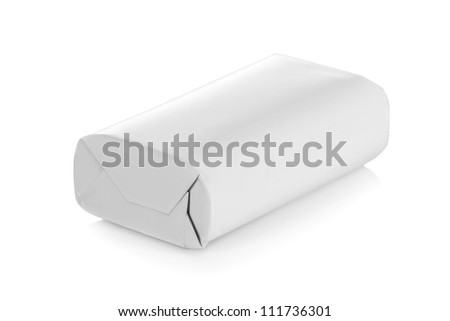 White wrap package for new design on white background - stock photo