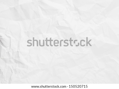 White wrinkled paper background texture - stock photo