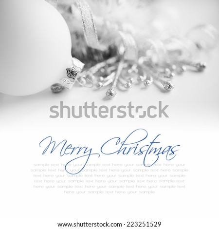 White xmas ornaments on white background with space for text. Merry christmas! - stock photo