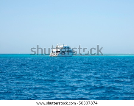 white yacht in Red sea and blue sky, Egypt
