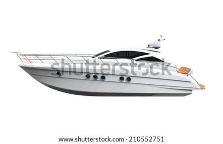 White Yacht Isolated - stock photo