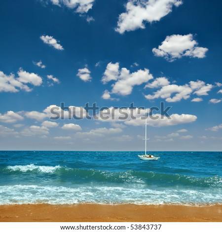 white yacht on turquoise sea - stock photo