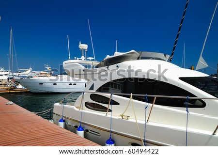 White yachts - stock photo