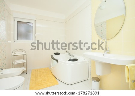 white-yellow bathroom