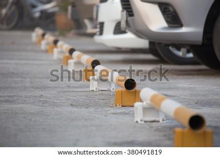 White, yellow, parking - stock photo