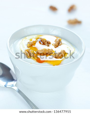 White yogurt with walnuts and gold honey - traditional greek dessert - light healthy natural dietetic snack or meal. - stock photo